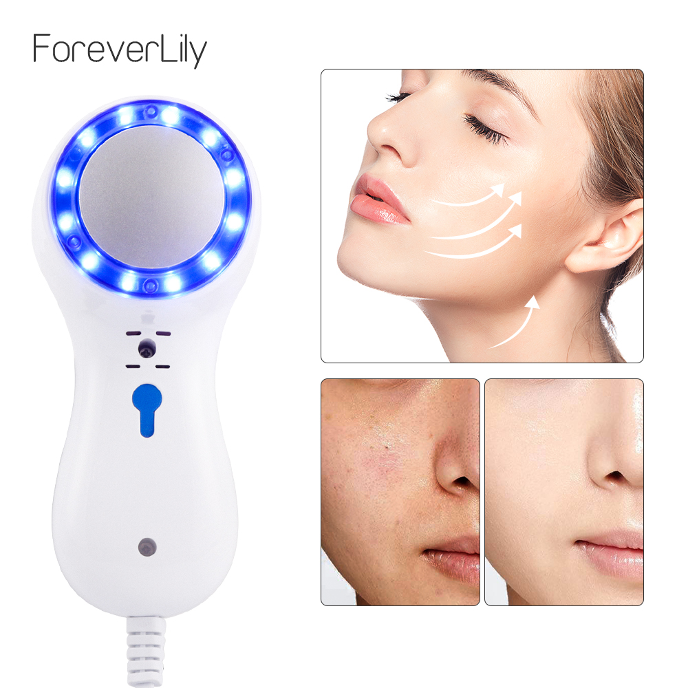 Ultrasonic Cryotherapy Cold Hammer Blue Photon Acne Treatment Lifting Rejuvenation Facial Massager Machine Care Beauty Tool