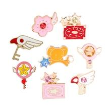 Anime Card Captor Sakura Pins Brooches Card Wings Star Stick Bird Magic Key KERO Denim Jackets Lapel Pin Badge Japanese Jewelry