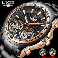 2020 New Men Watches LIGE High End 100m Waterproof Mechanical Watches Men luxury Double Tourbillon Date Automatic Business Watch