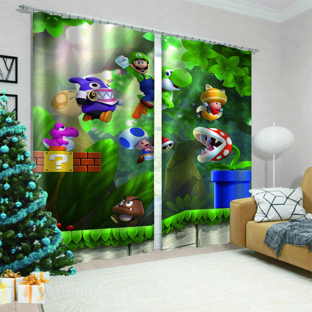 Anime Super Mario Game 2 Panels/Set Window Curtains Block out Fabric Drapes Darkening Thermal Insulated Living Room Bedroom