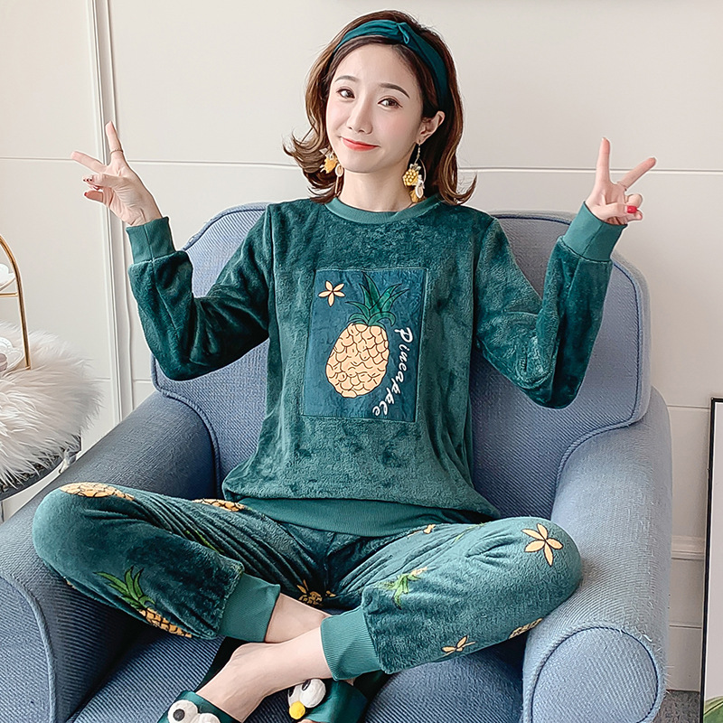 Autumn Winter Flannel Cartoon Cute Pajamas Long Sleeve Pyjamas Women Pijama Mujer Loungewear Home Clothes Sleep Set Nightwear 31