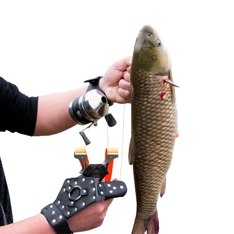 1pc Wrist Band +1pc Reel For Fishing Slingshot Wrist  Protector Catapult PU Hunting Archery Shooting Fish Sports Bow Fishing