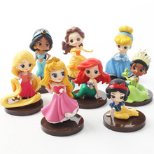 8 unids/lote Q Posket princesas figura muñecas Tiana nieve blanca Rapunzel Ariel Cenicienta bella sirena PVC figuras Juguetes