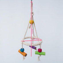 Natural Wooden Parrots Swing Toy Birds Bird Supplies Bird Toys Perch Hanging Swings Cage For Pets(China)