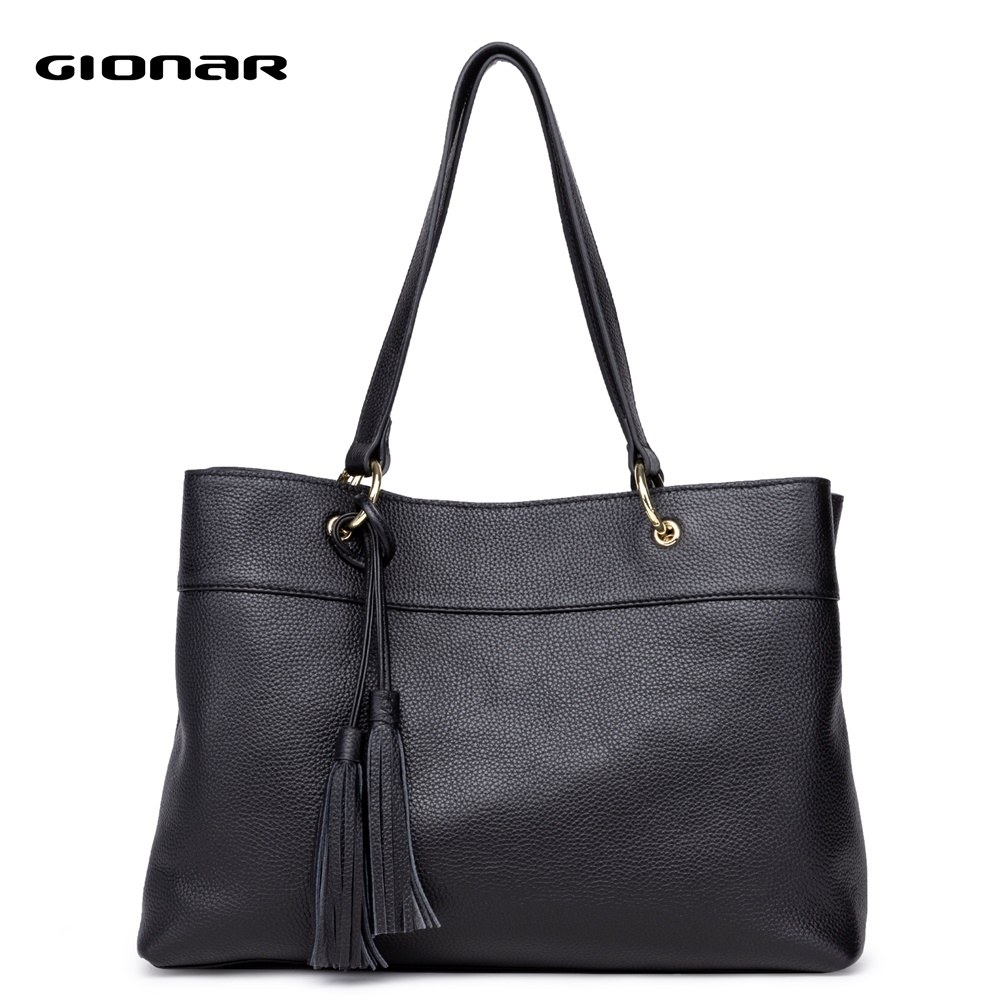 GIONAR Genuine Leather Handbags Women Real Cow Top Layer Leather Tote Bag Designer Shoulder Work Top Handle Bag With Tassels