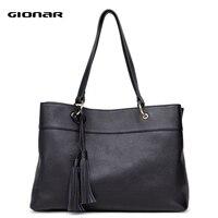 GIONAR Genuine Leather Handbags Women Real Cow Top Layer Leather Tote Bag Designer Shoulder Work Top Handle Bag with Tassels