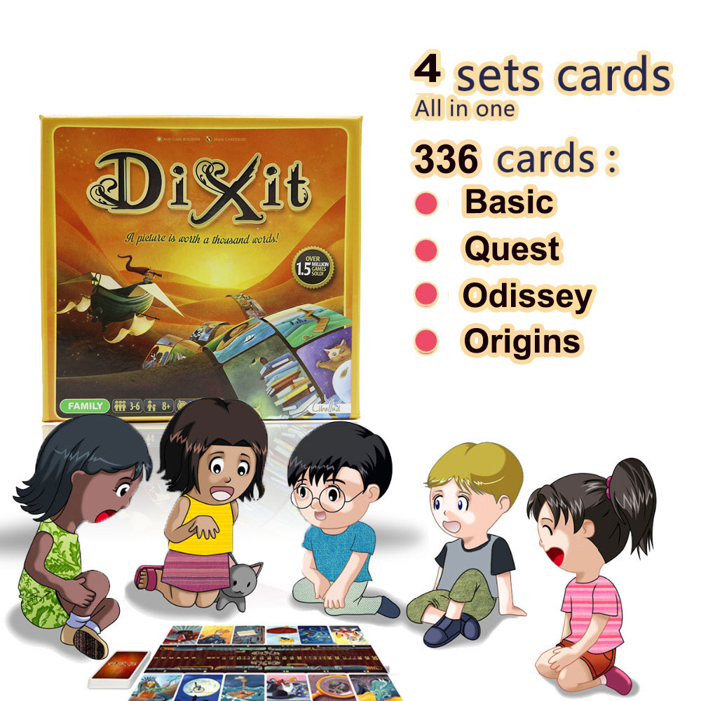 Dixit 1+2+3+4 Board Game For Kids 336 Cards Wooden Rabbits Toys For Home Party Table Game Russian & English Cards Game