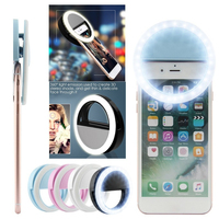 Adustable mini clip-on selfie anel do telefone móvel conduziu a lâmpada de luz 36 leds luz de preenchimento 3 para iphone 6 6s mais android