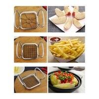 New Vegetable Fruit Cutter Vegetable Fruit Slicer Cutter Potato Chips Cutter 5PCS Stainless Steel Vegetable Fruit Cutter Shred