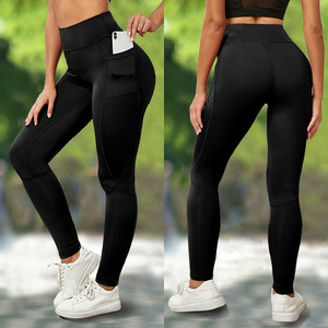 Bolso sólido esporte yoga calças de cintura alta malha esporte leggings de fitness mulheres yoga leggings treinamento correndo calças esportivas