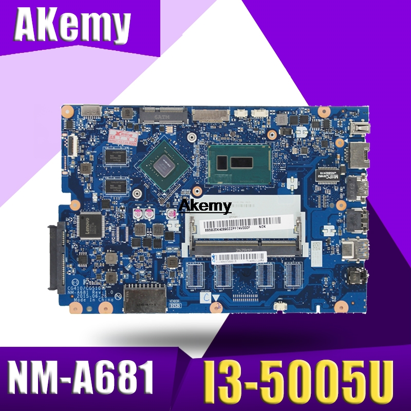 Free shipping new 5B20K25385 for Lenovo 100-15IBD CG410/CG510 NM-A681 Laptop Motherboard with SR27G I3-5005U CPU 920M <font><b>1GB</b></font> <font><b>GPU</b></font> image