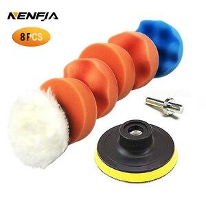 Image 1 - 8Pcs 3/4/5/6/ inch Waffle Buffer Polishing Pad Set For Car Polisher + Drill Adaptor M10 M16 Power Tools