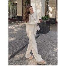 Iki parçalı Set kazak kazak örgü eşofman kadın yüksek bel örgü düz pantolon takım elbise bahar elbise