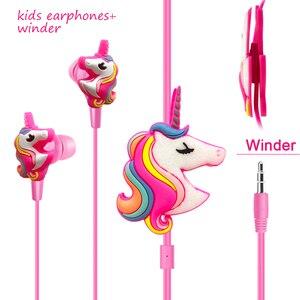 Image 1 - Komik Unicorn karikatür kulaklıklar kulaklık oyun müzik Stereo kulakiçi açık spor koşu kulaklıklar çocuklar kız hediyeler