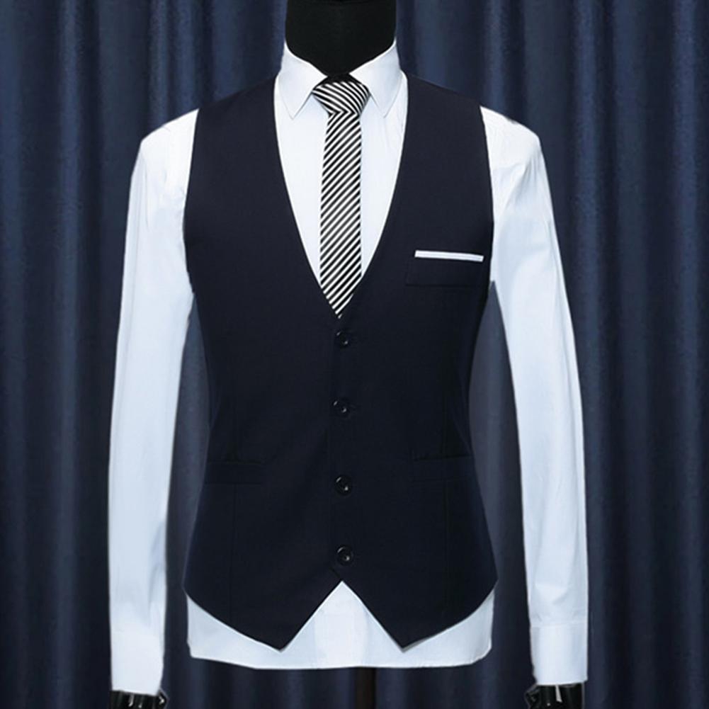 Fashion Office Men Solid Color V Neck Sleeveless Button Waistcoat Slim Fits Vest Men's Formal Business Suit Vest