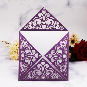 100pcs/lot Four-Folded Laser Cut Wedding invitation Cards New Design Invitation Cover For Wedding Birthday Party