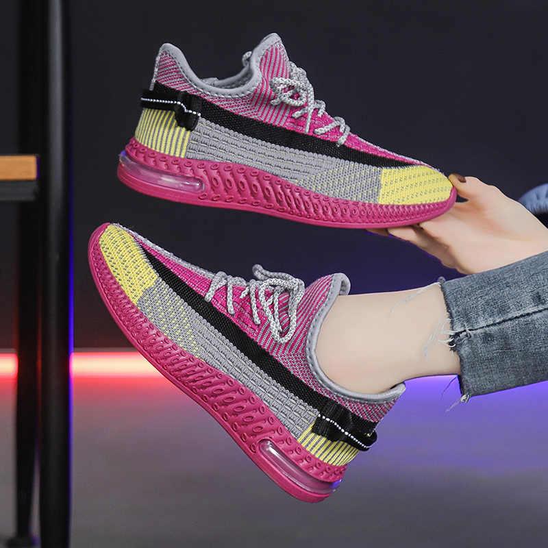 2020 נשים ספורט נעלי טניס לנשימה אוויר כרית רשת גרב ספורט חדר כושר כושר נקבה הנעלה Tenis Feminino סל Femme