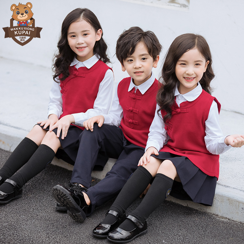 Kindergarten Suit Sweater Set Children Red Chinese-style Chinese Clothing Business Attire Primary School STUDENT'S School Unifor