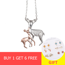 New 925 sterling silver cute deer mom&baby pendant chain necklace with Cubic Zirconia diy fashion jewelry making women gifts цена 2017