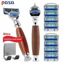 Men Manual Wood Handle Razor, male Blade Shaving Sharpener 5 Layer Top Quality Razor Blades Head Suitable for Gillette Fusione