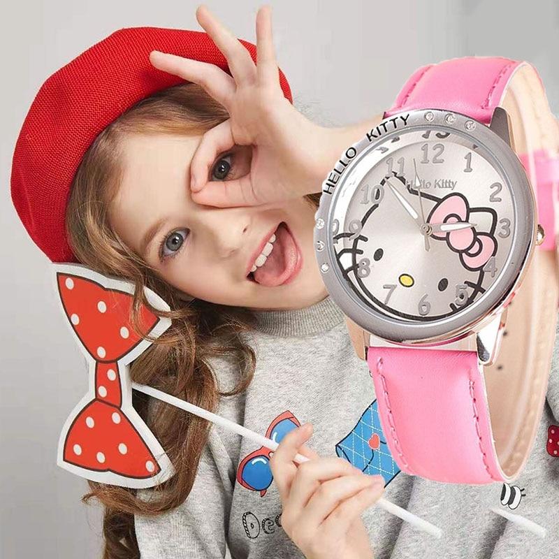 Hello Kitty Kids Watches Cartoon Children Watches For Girls Cute Leather Quartz Clock Relogio Infantil In Children's Watch Lovly