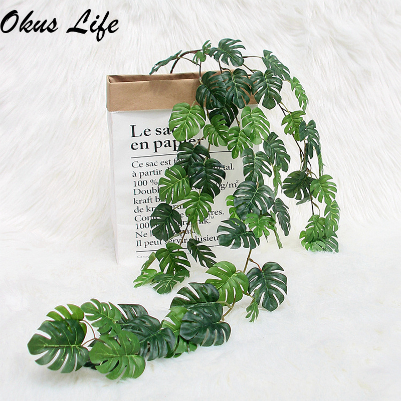 INS 3X Fake Tropical Palm Leaves Grass Vine Artificial Jungle Plants Turtle Leaf Rattan Simulation Wedding Party Home Wall Decor
