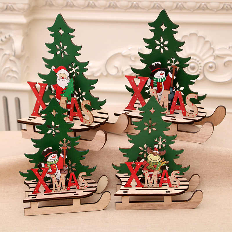 1 pcs Christmas Painted Wooden Assembled DIY Sled Car Ornaments Creative Snowmobile Home Decoration