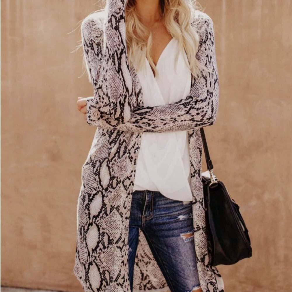 Women Leisure Snake Print Shawl Cover Up Cardigan Long Blouse Autumn LadiesTops Female Long Sleeve Shirt Coats Clothing