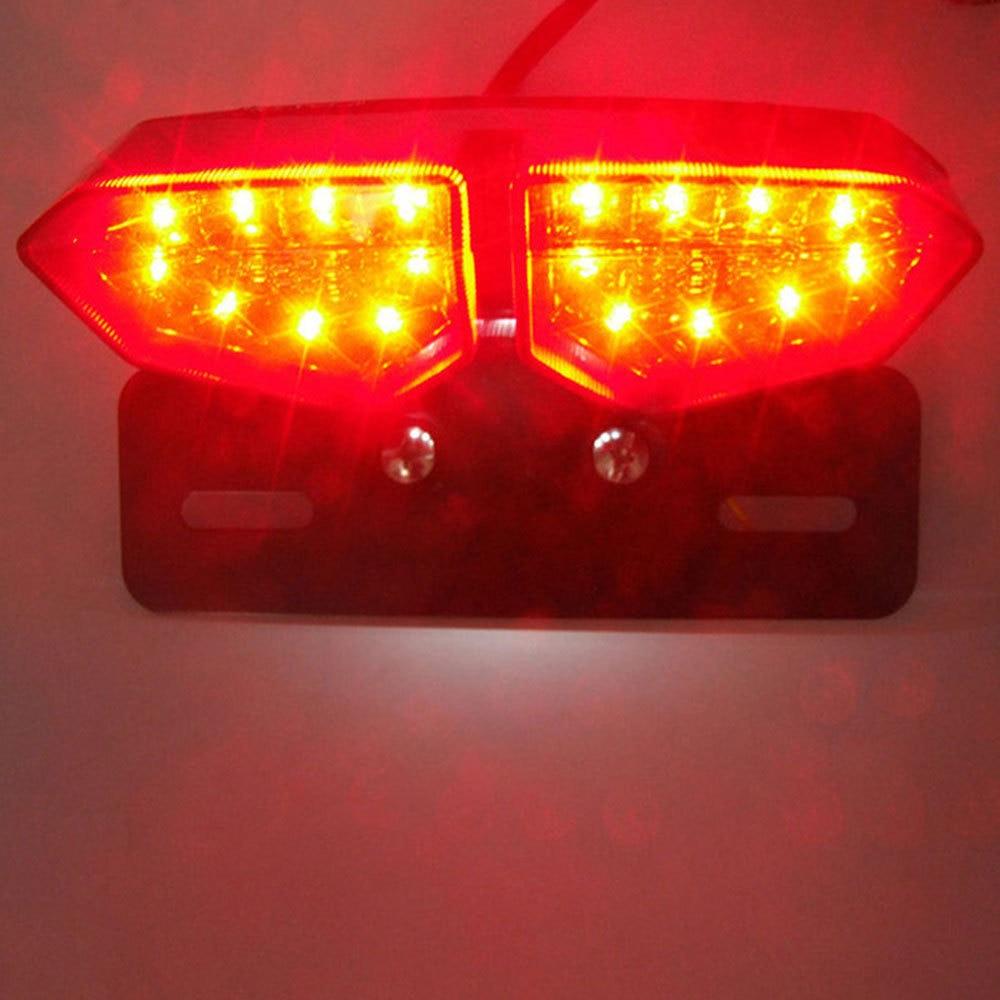 Motorcycle LED Taillight 12V Turn Signal Rear Brake Lights Motorbike License Plate Light Flasher For Honda Kawasaki Harley