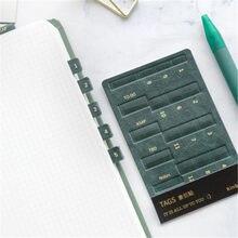 O índice de couro do plutônio etiqueta autoadesiva da etiqueta do tempo para o diário agenda planejador organizador escritório escola bookmark papelaria