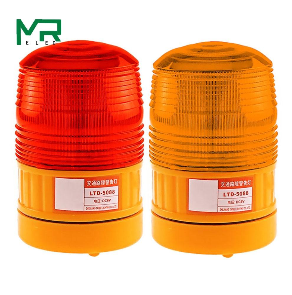 LTE-5088 питание от аккумулятора DC 6V светодиодный экран вспышка светодиодный мигающая сигнализация красный желтый предупреждающий свет без