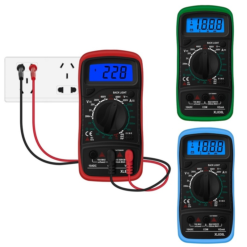 Junejour XL830L LCD Digital Multimeter Handheld Backlight Portable AC/DC Ammeter Voltmeter Ohm Voltage Tester Meter Multimetro