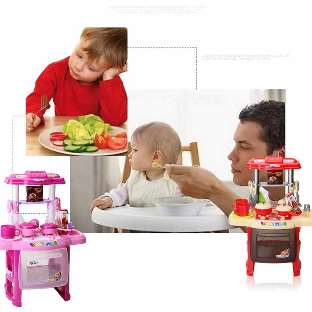 فتاة التظاهر اللعب أطقم المائدة اللعب ضوء الموسيقى المطبخ الطبخ محاكاة مصغرة المطبخ لعب للأطفال هدايا Xmax