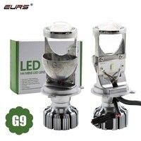 Eurs novo design 2 pçs led faróis do carro h4 led lente mini g9 carro conduziu a lâmpada de iluminação substituição lâmpadas auto farol hi/lo feixe
