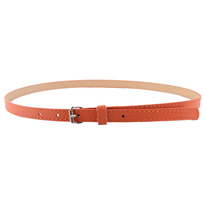 Women Faux Leather Belts Candy Color Thin Skinny Waistband Adjustable Belt Simple Solid Color Fashion Thin Belt Female For Dress