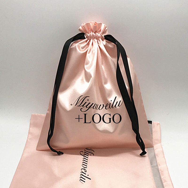 20PCS Luxury Satin Hair Pouch Packaging Jewelry Cosmetic Silk Drawstring Bag Party Wedding Gift Makeup Storage Sachet Print Logo