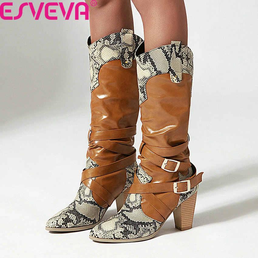 ESVEVA 2020 yılan derisi PU deri karışık renk moda kadın ayakkabı yuvarlak ayak kare yüksek topuk toka diz yüksek çizmeler boyutu 34-43