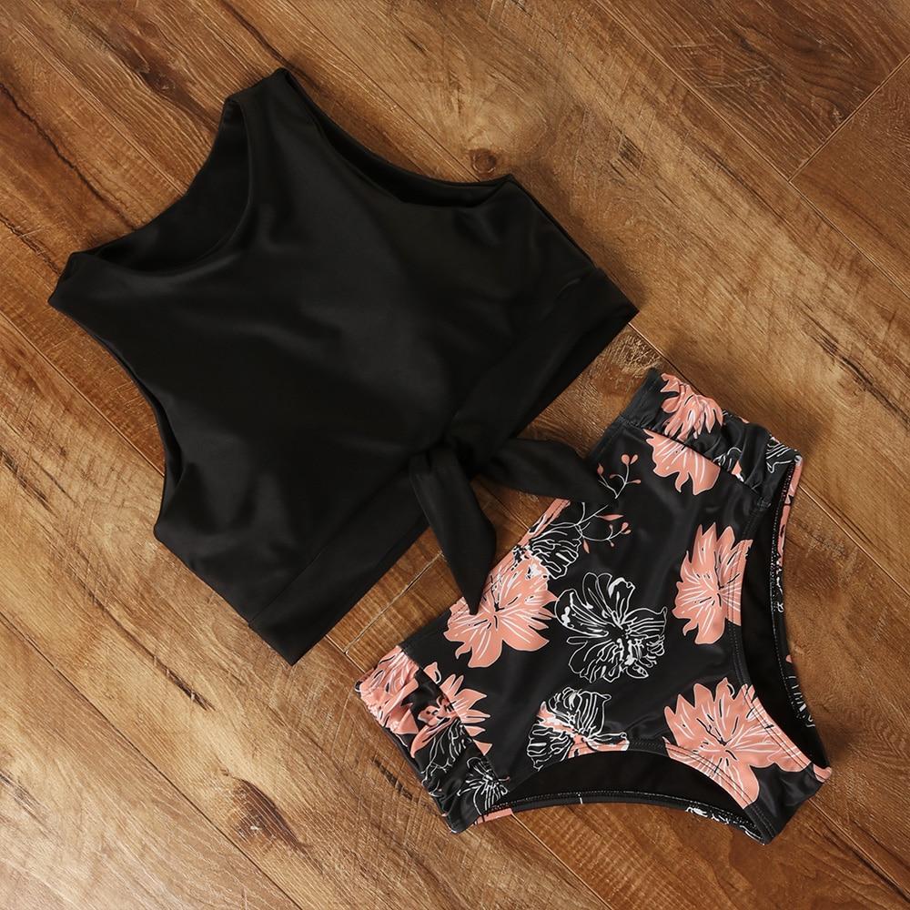 High Waist Bikini Swimwear Women Floral Swimsuit Leopard Women High Neck Bikini Push Up Plus Size Swimwear Striped Bathing Suit 1