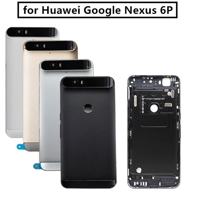 Para huawei google nexus 6 p bateria de volta capa traseira porta habitação + superior lente flash lente vidro substituição peças reparo