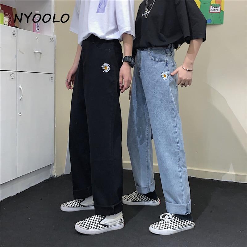 NYOOLO Harajuku Style Ulzzang Daisy Embroidery Denim Pants Women Men Casual Streetwear High Waist Full Length Straight Jeans
