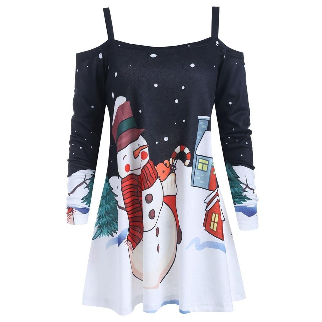 Christmas 1950s Womens Housewife Sweatshirts Female Ladies Sexy Off Shoulder Sweatshirt Print Sling Tops Hoodies Naiste Kampsun