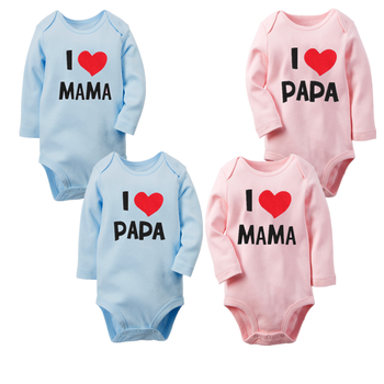 Body de manga larga con letras I Love Papa Mama para recién...