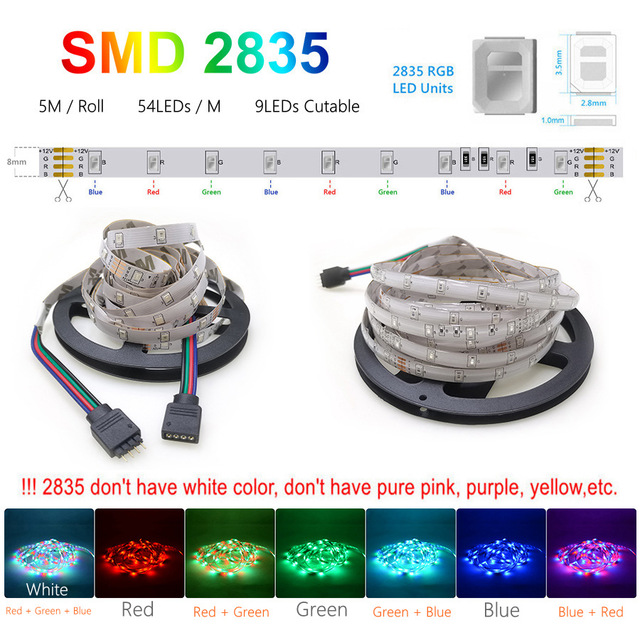LED Strip SMD 5050 2835 12v Lights for Room Waterproof RGB Tape 5M 10M 15M Remote Control Ambilight Neon Ribbon
