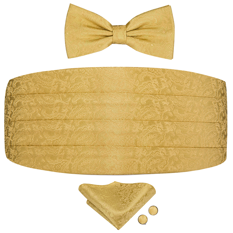 YF-2015 Hi-Tie Luxury Wedding Cummerbund Bow Tie Set Golden Floral Silk Cummerbunds Elastic Tuxedo Wide Ceremonial Belt