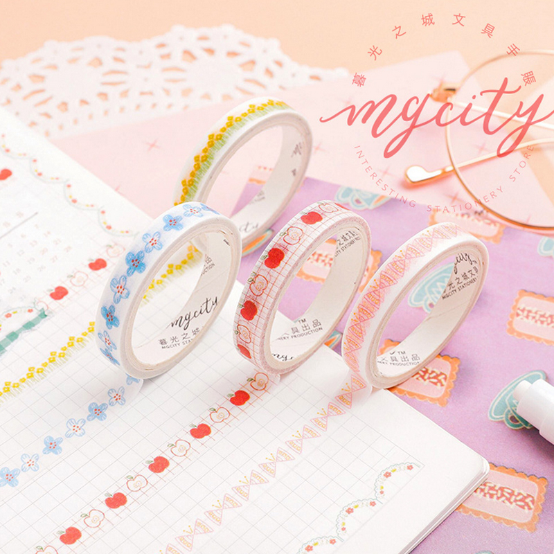 Moguang Fine Border Decoration Lace Washi Tape DIY Decoration Scrapbooking Planner Masking Tape Adhesive Tape Kawaii