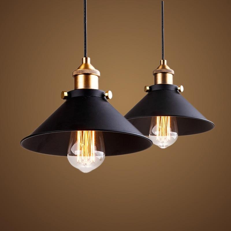 Black Vintage Industrial Pendant Light Nordic Retro Lights Iron Lampshade Loft Edison Lamp Metal Cage Dining