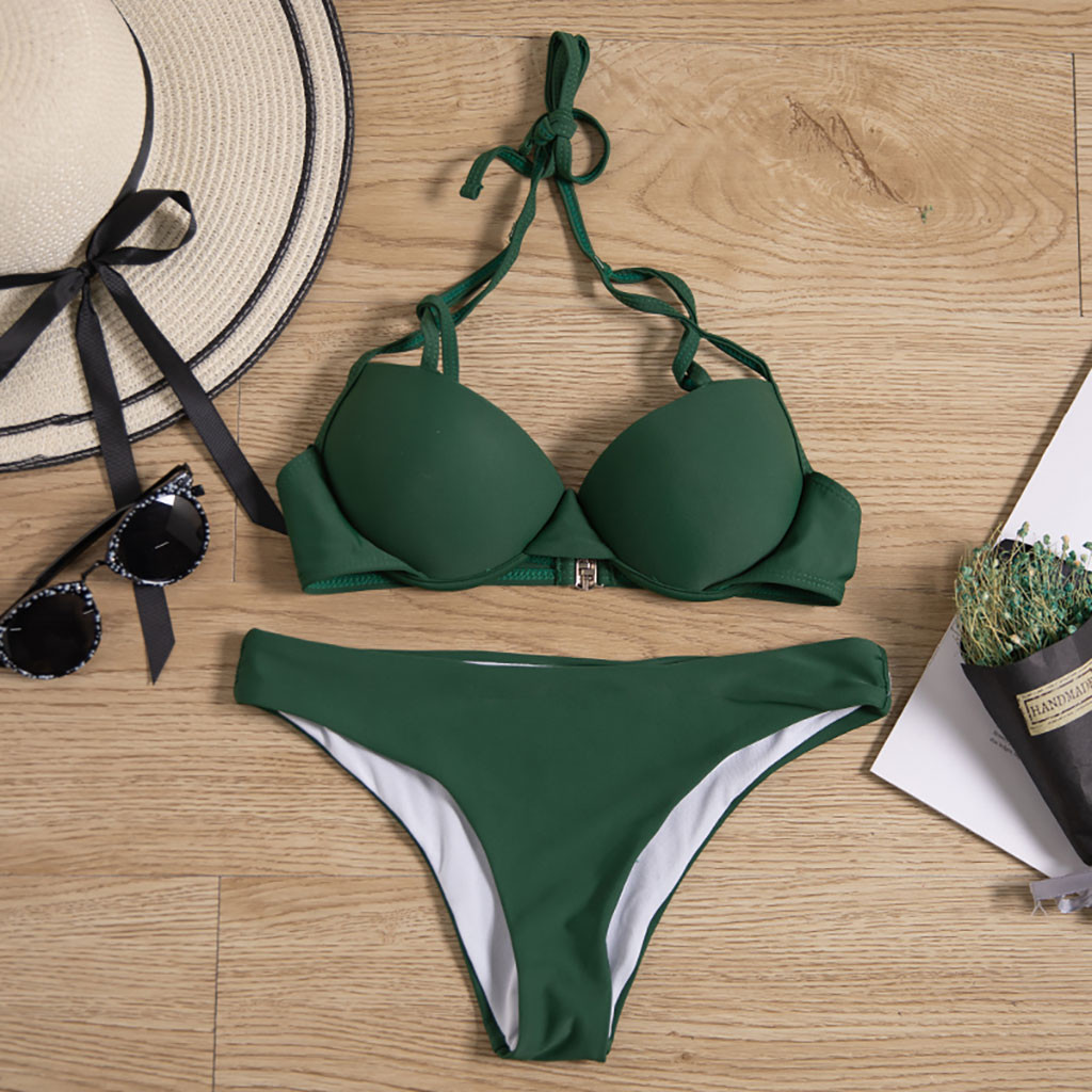#Z15 Green Sexy Swimwear Women Push Up Bathing Suit Swiming Suit Bandage Biquini Swimsuit Solid Color Brazilian Bikini Suit
