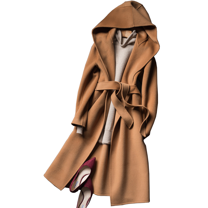 2019 autumn and winter pure wool coat It Moman Casual Hooded Cashmere Jacket handmade double-sided