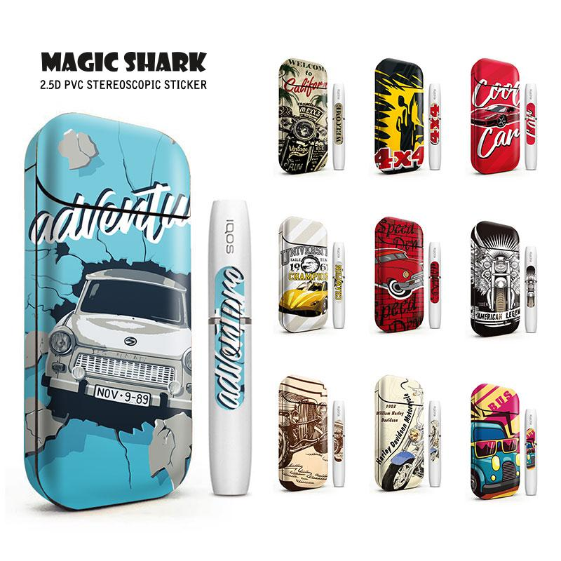 Magic Shark 2.5D Stereo Car Motorcycle Film Stickers For IQOS 2.4 Plus Case Cover PVC Skin Sticker E Cigarette 4056-4065