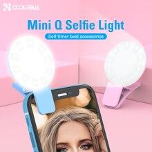 Coolreall Mini Q селфи кольцевой светильник портативный флэш светодиодный USB зажим для мобильного телефона для ночной фотографии заполняющий светильник для iPhone samsung